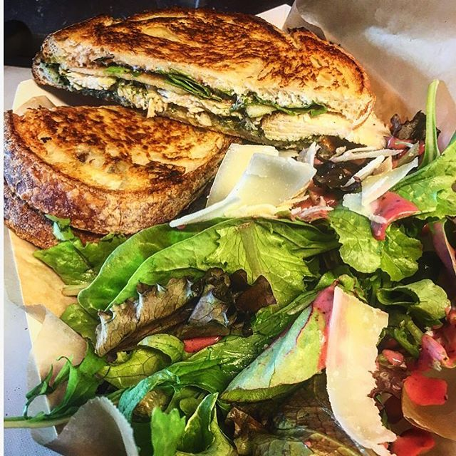 This is the Rooster. You want The Rooster trust us. Grilled hormone and antibiotic free chicken breast, basil pesto, goat cheese, arugula, sliced apples.  Catch us today 11-1:30pm at Canyon Plaza |  2510 W Dunlap Ave. | Phoenix  Tomorrow 1030-130 4020 E Indian School Rd | Phoenix