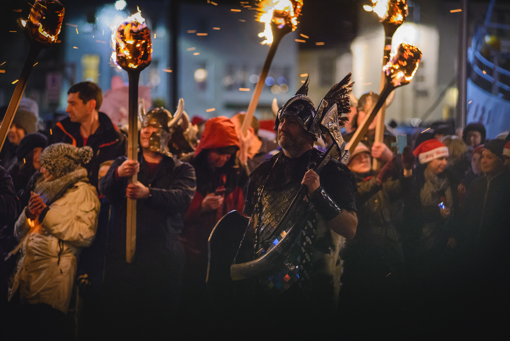 Viking in Perceval Square surrounded by flaming torches.2015 paulmcginley.co.uk ©