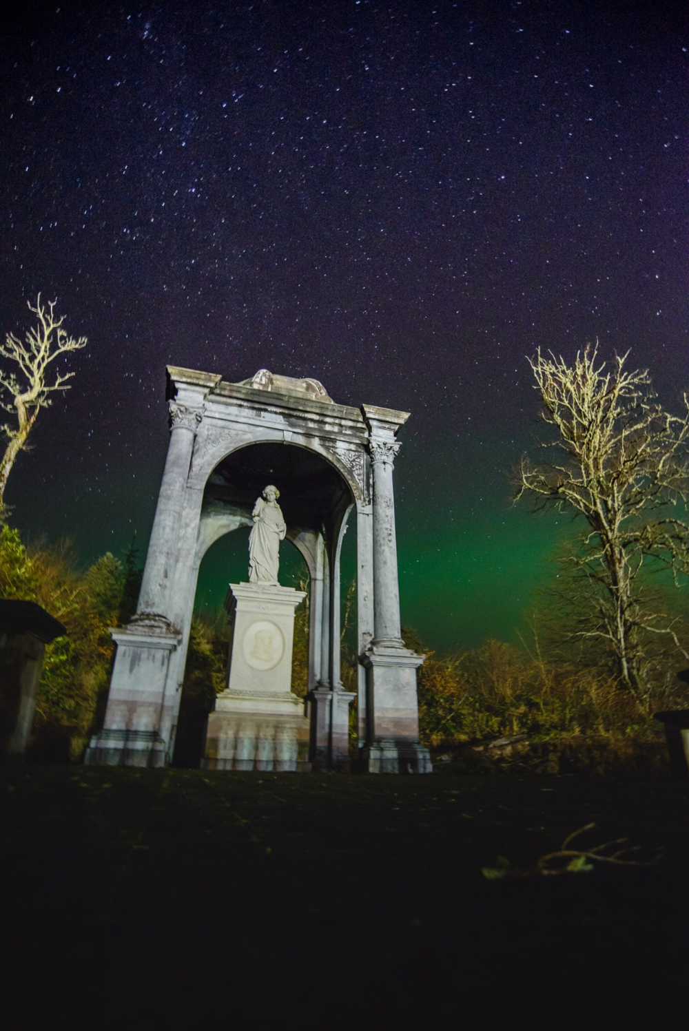 Aurora over Lady Matheson's Statue, Stornoway