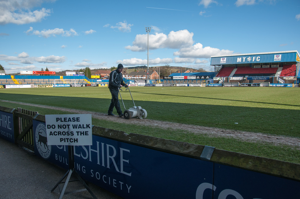 So it's alright for some to walk across the pitch.  I spent the day at Macclesfield Town FC making images for my book, Footballs Backside.