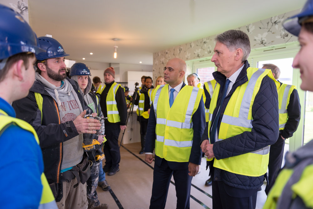 Sajid Javid (Home Secretary) & Phillip Hammond (Chancellor of the Exchequer) at Morris Homes, Leicester.
