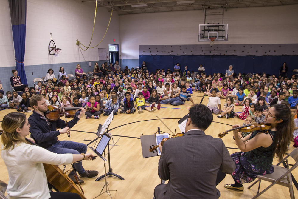 Fitz Gary, Madeline Fayette, Eric Wong, and Jinjoo Cho, from our 2016 education program. Woodbrook Elementary School, Charlottesville, VA.