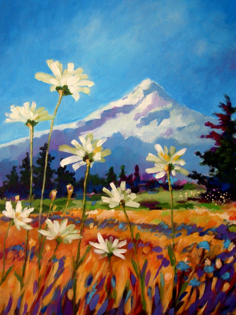 This first painting was created from my head. I was painting Mt. Hood and wanted to play with crazy grass colors and added the daisies to created interest.  20x24 - sold from Pine Street Bakery.