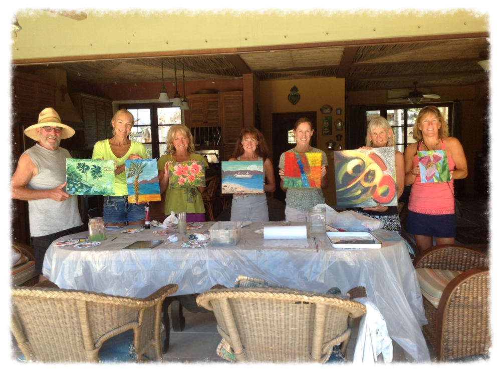 Happy participants from my recent art class in Baja, Mexico.