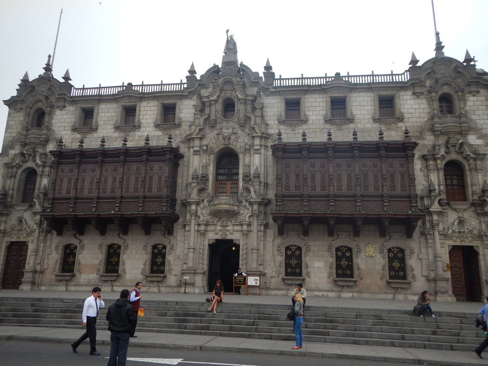 The former house of the bishop. Another great example of the hanging balconies. The body of Francisco Pizarro is in there.
