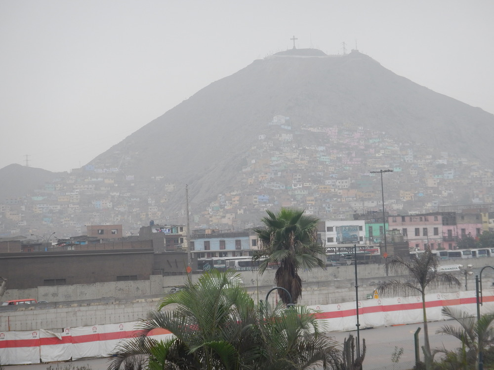Looking over to where Lima ends. Those suburbs are where many people live on less than a dollar a day.