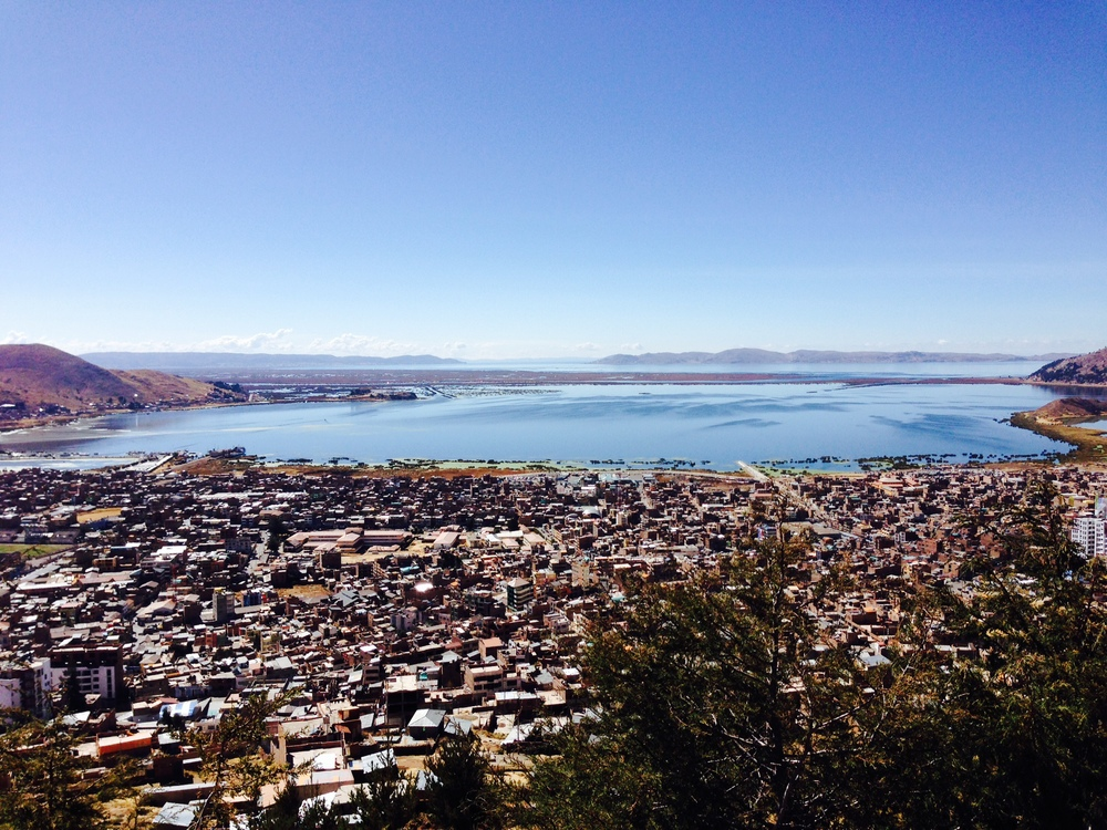 The city of Puno and Lake Titikaka