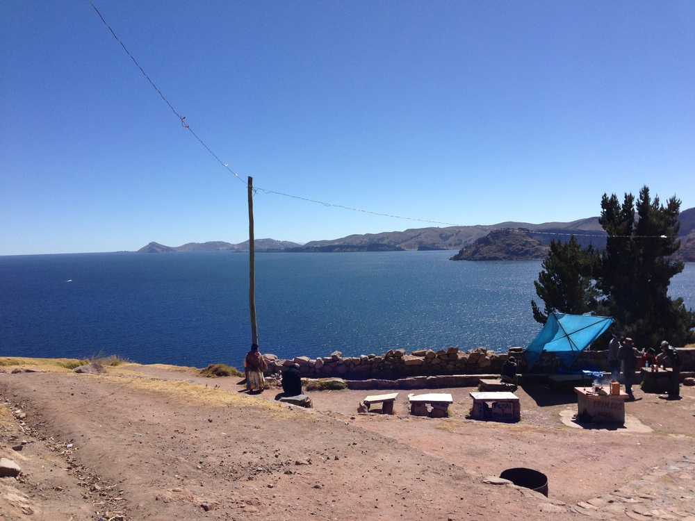 A Bolivian picnic overlooking Lake Titicaca