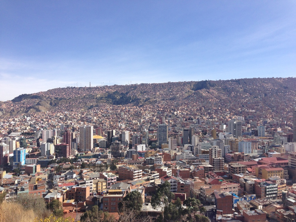 So in this picture you can see three zones of La Paz. At the bottom there is the rich zone, called Sopacachi. In the middle of the hill are the middle class homes, and at the top is the poor area called El Alto. Unlike in the United States, cities in the Andes tend to have their richest areas near the center, because it's hard to drive around in the cities and the weather, at least in La Paz, is much warmer near the bottom.