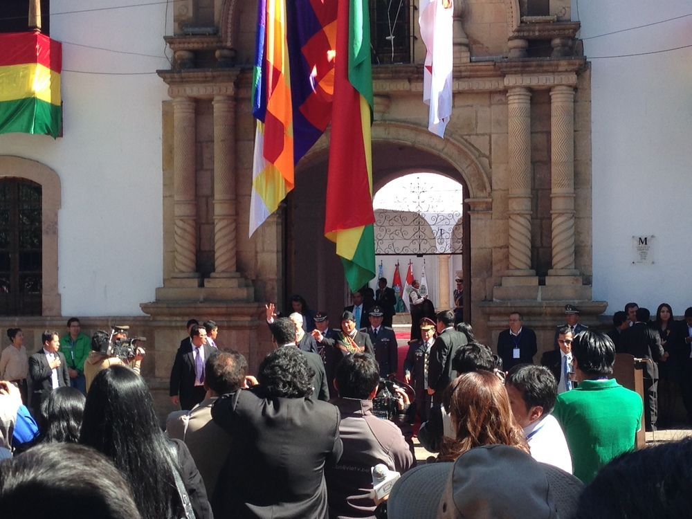 The President and Vice-president of Bolivia at he speech I went to