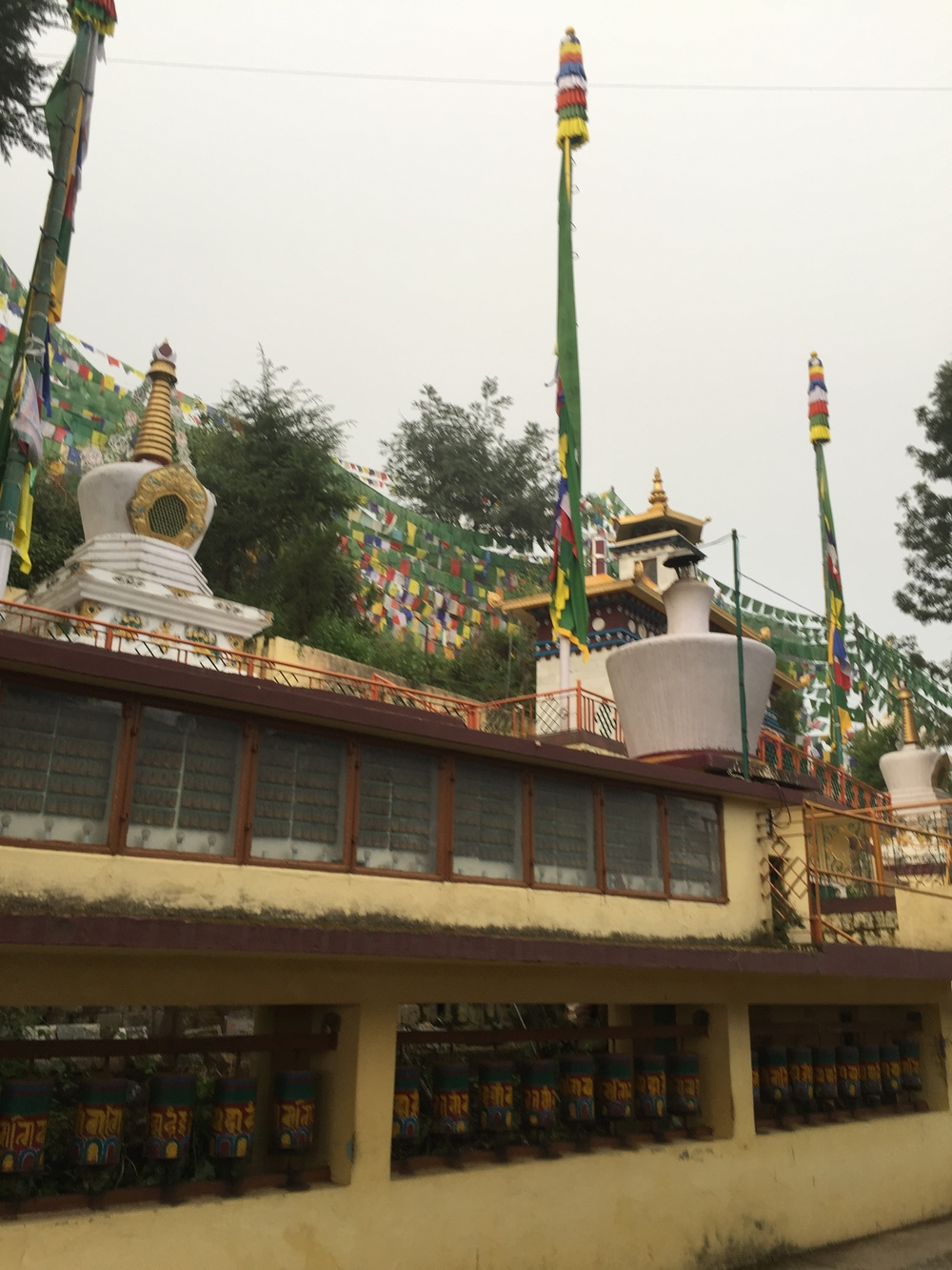 These are stupas in the Dalai Lama's garden. Those wheels in the walls are prayer wheels. Prayer wheels are made by writing thousands of prayers on slips of paper and then putting them into the wheel, and when you spin it, you accumulate the karma of having actually said the prayer one time for each slip of paper. For example, on this wall, there are something like 560 thousand slips of paper, so one quick pass can earn you a lot of karma. Similarly, the prayer flags accumulate karma for the person who hangs them. Each time a prayer flag flaps in the wind, the hanger accumulates the karma of having said the prayer written on the flag one time.
