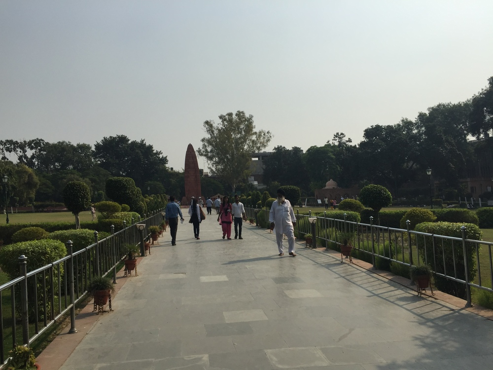 Jallianwala Bagh in Amritsar. In 1919, a British general named Dyer opened fire on a group of Indians having a peaceful protest here, which was a big moment in bringing about the end of British rule here.