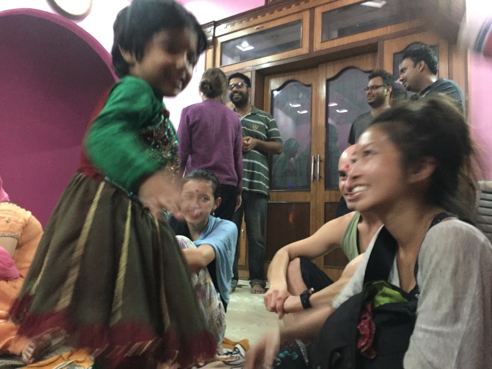 After dinner and fireworks, the family conducted a puja and the youngest treated us to some dancing