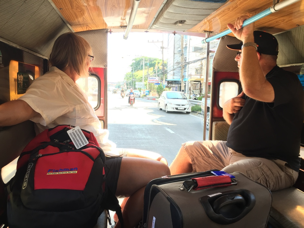 My mom and her partner experiencing the local way to get around in Thailand.
