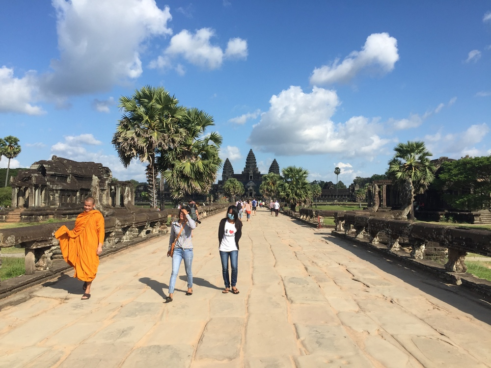 The main temple here is called Angkor Wat and it's also spectacular. That's it in the background.