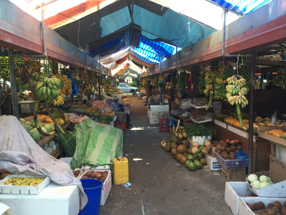 A typical Maldivian fruit market. It's totally vacant because people were called off to pray. Vendors just leave their stalls unprotected but that's okay here.