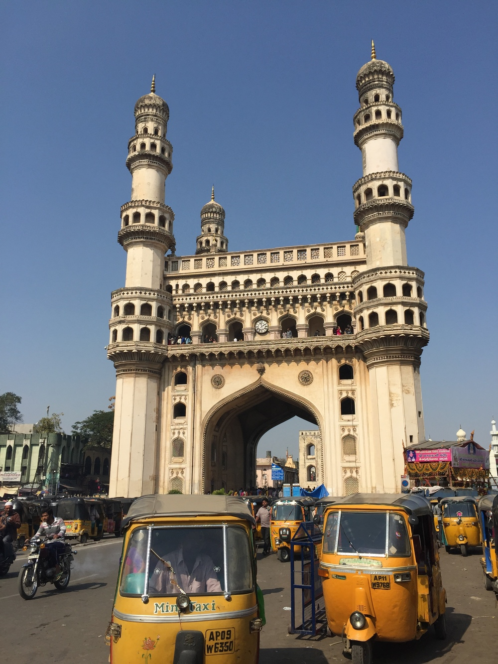 This is Charminar, another attraction in Hyderabad. Many of the country's main attractions, like the Taj Mahal and this, were built by the Muslim Mughals. The current government, a Hindu nationalist party, isn't super keen about promoting these monuments