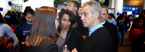 Katherine Myers and Rahm Emanuel discuss Great Lakes Academy.