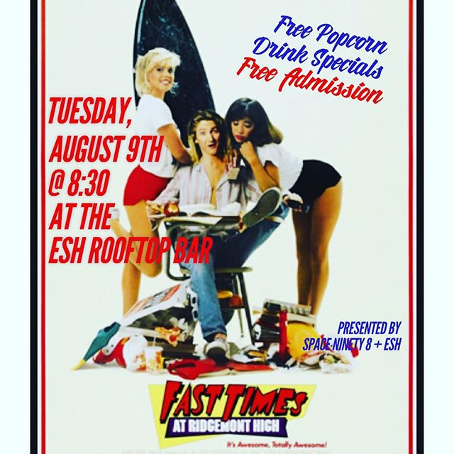 #tbt to what we all wished High School was like... Come relive the thrill next Tuesday, Aug 9 when we'll be screening FAST TIMES AT RIDGEMONT HIGH, presented by #spaceninety8.  The screening is #free, so is the popcorn, and we'll have #drinkspecials all night. #hibrad #redbikinis #alohamrhand #whatareyoupeopleondope #learnitknowitliveit #UOmovienight #ESHBrooklyn @ilanhall @spaceninety8 #freefilms #freewilliamsburg #brokelyn
