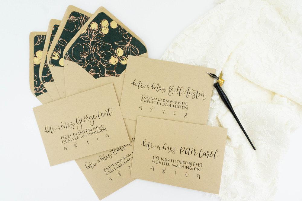 love-fern-design-studio-custom-wedding-invitations-for-the-modern-couple-modern-calligraphy-in-seattle-washington-custom-wedding-stationery-kraft-brown-coral-green-envelope-liner