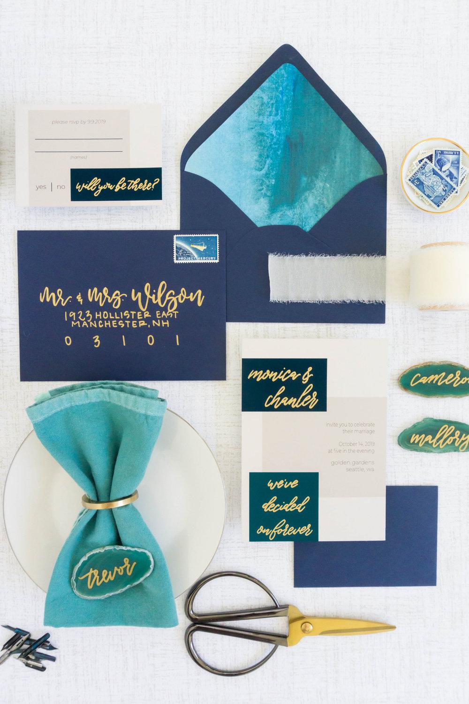 love-fern-design-studio-custom-wedding-invitations-for-the-modern-couple-modern-calligraphy-in-seattle-washington-custom-wedding-stationery-navy-gold-teal