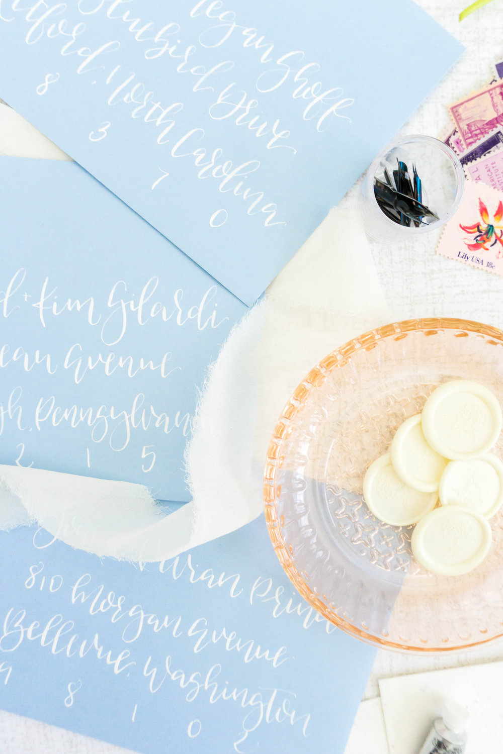 love-fern-design-studio-custom-wedding-invitations-for-the-modern-couple-modern-calligraphy-in-seattle-washington-custom-wedding-stationery-french-blue-calligraphy-envelopes-white-ink