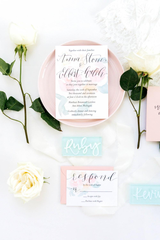 love-fern-design-studio-custom-wedding-invitations-for-the-modern-couple-modern-calligraphy-in-seattle-washington-custom-wedding-stationery-light-pink-watercolor-floral-invitation-suite