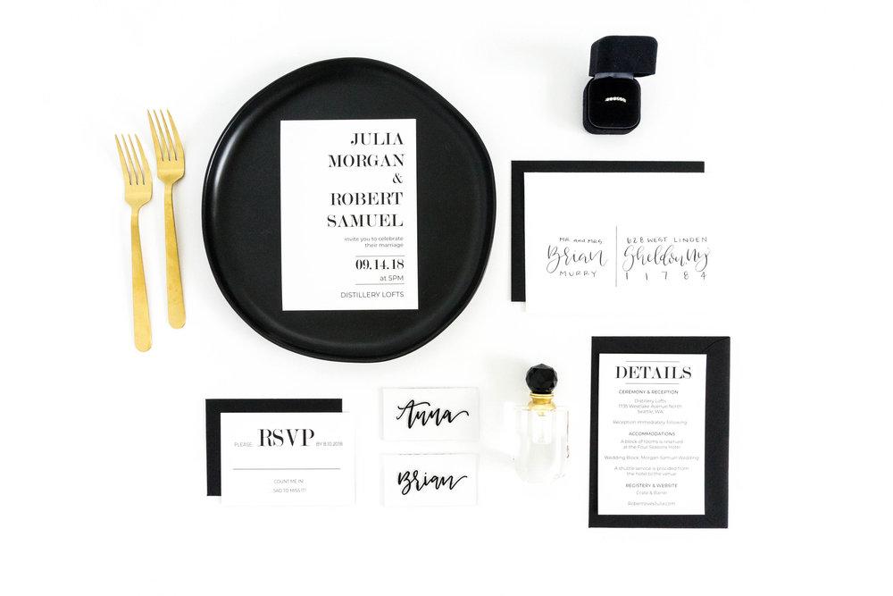 love-fern-design-studio-custom-wedding-invitations-for-the-modern-couple-modern-calligraphy-in-seattle-washington-custom-wedding-stationery-modern-classic-black-white-invitation-suite