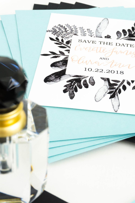 love-fern-design-studio-custom-wedding-invitations-for-the-modern-couple-modern-calligraphy-in-seattle-washington-custom-wedding-stationery-black-watercolor-save-the-date-teal-envelopes