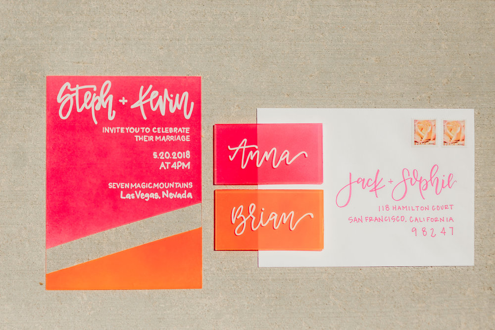 love-fern-design-studio-custom-wedding-invitations-for-the-modern-couple-modern-calligraphy-in-seattle-washington-custom-wedding-stationery-orange-pink-neon-acrylic-invitation-acrylic-place-cards