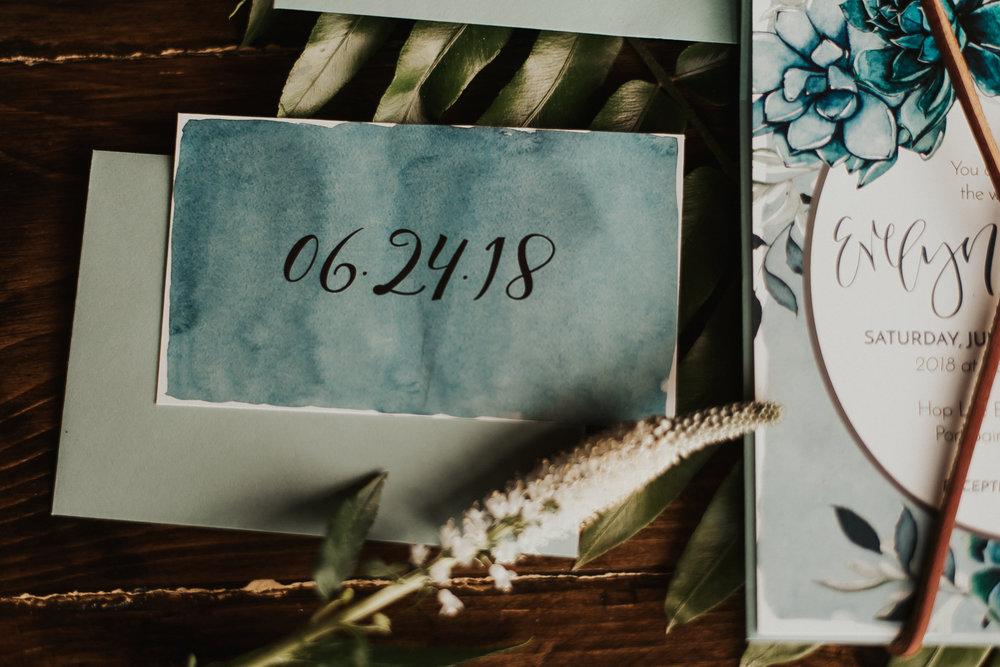 love-fern-design-studio-custom-wedding-invitations-for-the-modern-couple-modern-calligraphy-in-seattle-washington-custom-wedding-stationery-teal-watercolor-southern-boho-invitation-suite-rsvp-card