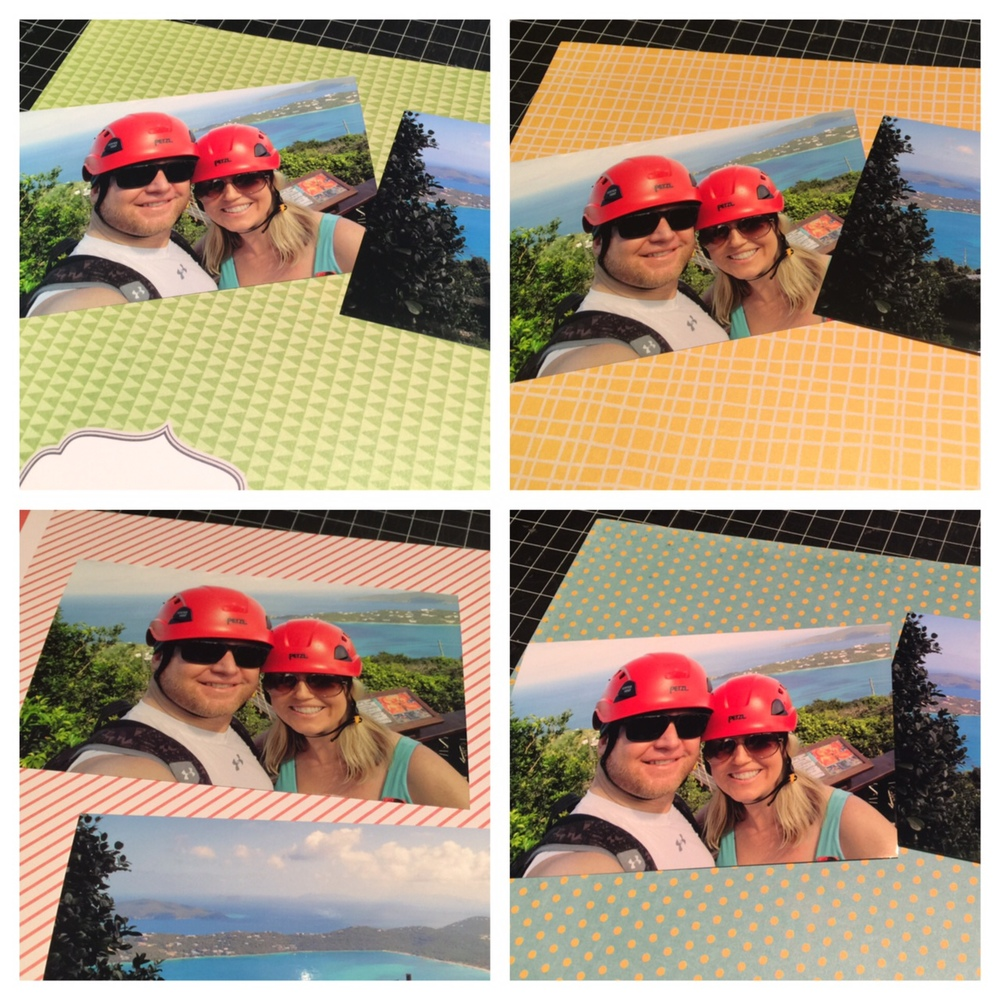 Ziplining scrapbook ideas - I Was Trying To Decide Which Of The Fun Color Patterns To Use Directly Behind My Photos The Ocean Helmets And Clothing Are So Bright That I Wanted To Pick