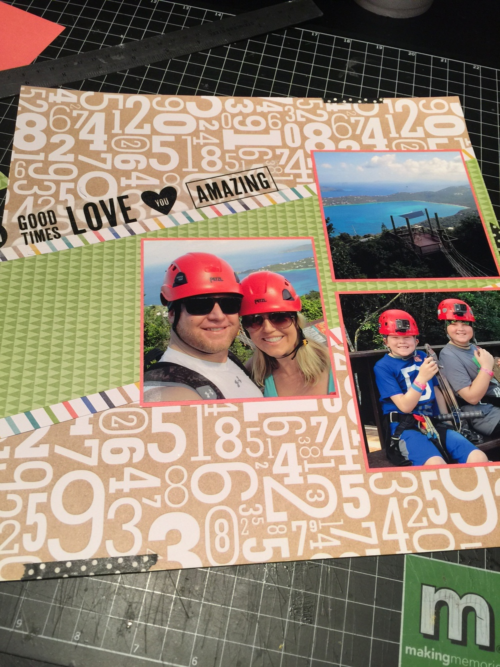 Ziplining scrapbook ideas - I Mounted My Photos On Some Coral Colored Cardstock That Matched The Coral In The Stripe Our Helmets In The Photos Are Red But The Coral Seems To Blend In
