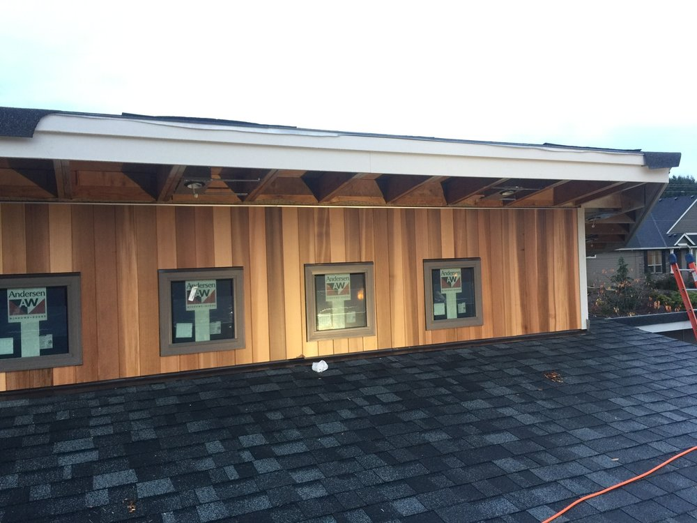 ... such as cedar on exterior cladding and soffits