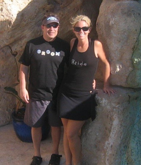 US ON OUR HONEYMOON.  I MADE THOSE SILLY SHIRTS.  BUT WORE THEM WITH PRIDE!