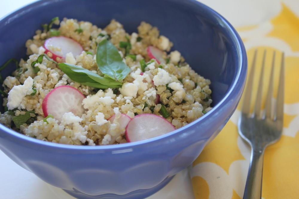 Lemon Walnut Quinoa Salad with Wilted Arugula.