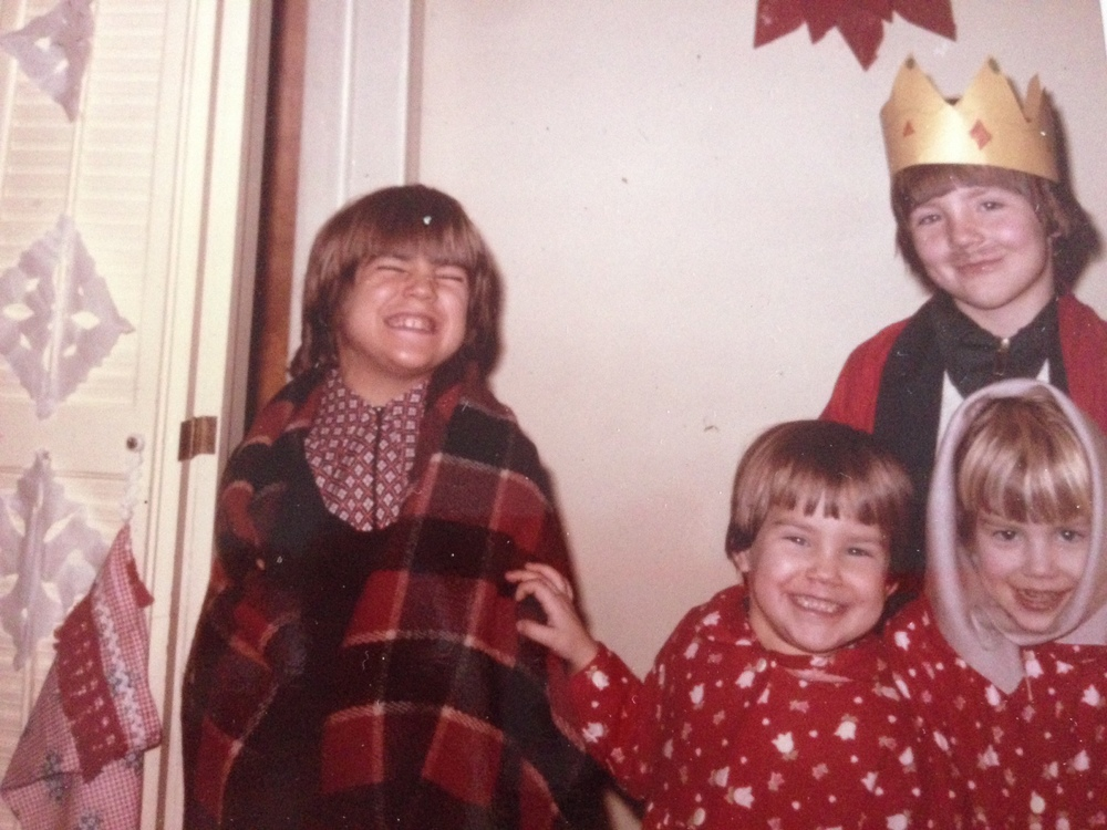 That's me with the dishcloth on my head.