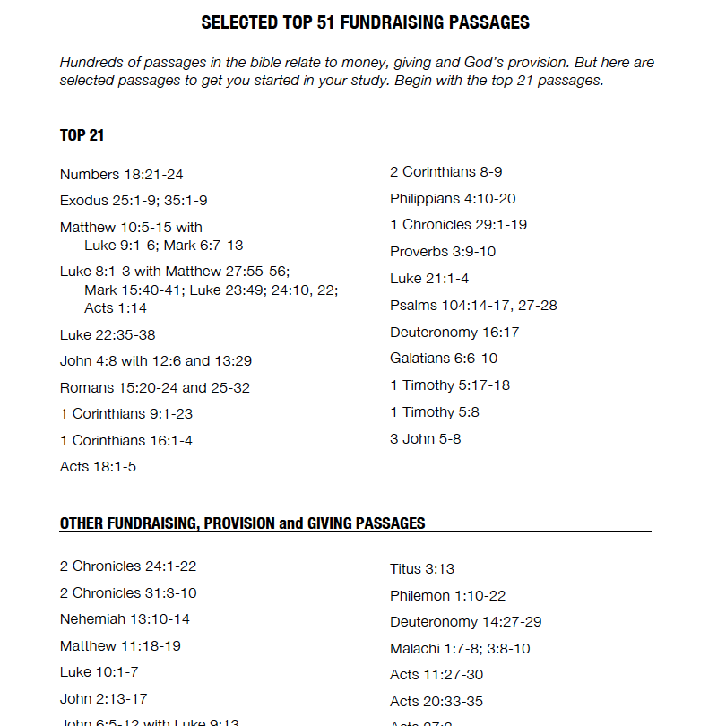 TOP 51 FUNDRAISING PASSAGES - Passages from the Bible relating to money, giving and God's provision
