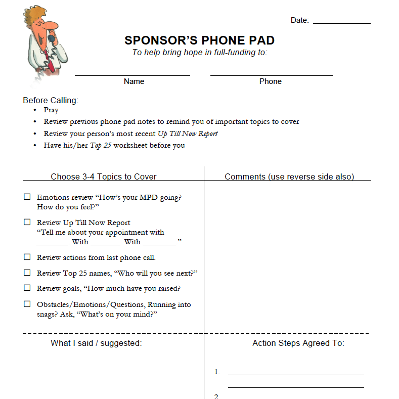 SPONSOR'S PHONE PAD - To help coaches be effective in developing Gospel Workers in fundraising