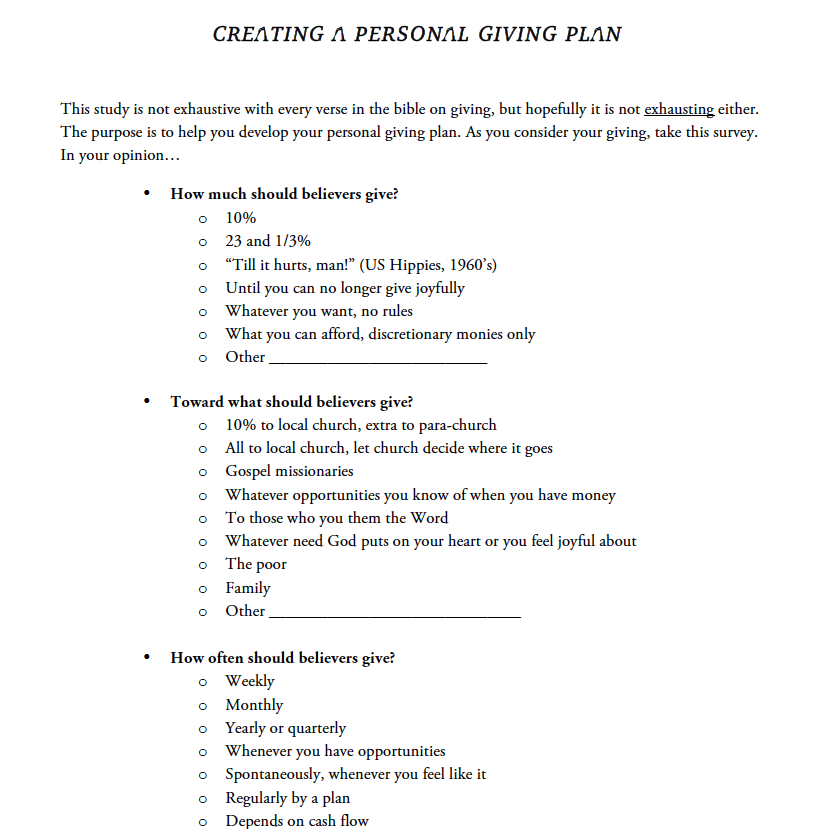 CREATE YOUR PERSONAL GIVING PLAN - A worksheet to help you develop your personal giving plan
