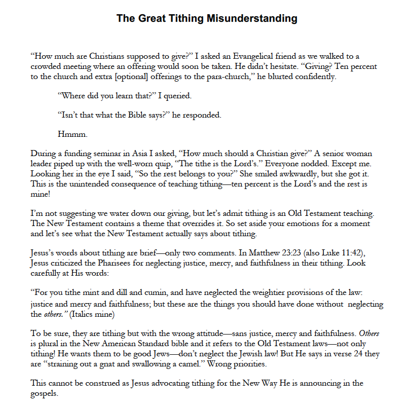 THE GREAT TITHING MISUNDERSTANDING -