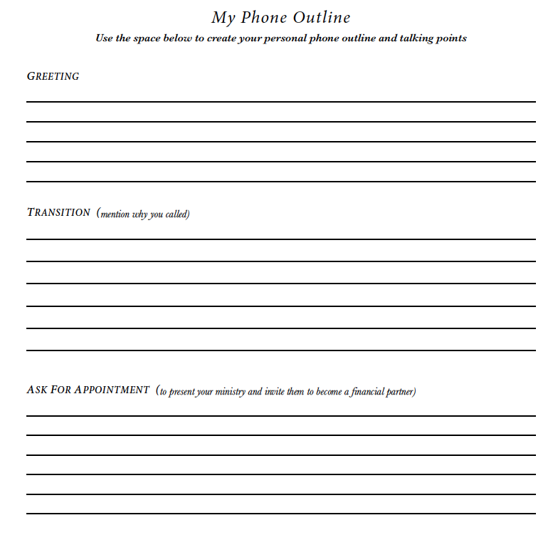 PHONE OUTLINE - Create your personal phone outline and talking points