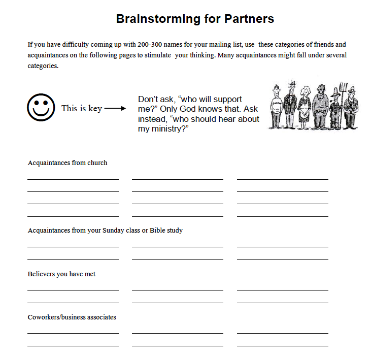 BRAINSTORMING FOR PARTNERS - Use this worksheet to help you come up with 200-300 names for your mailing list
