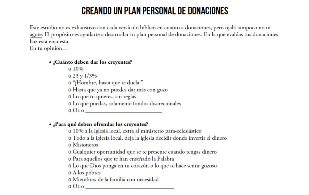 Creando un plan personal de donacianes - El propósito es ayudarte a desarrollar tu plan personal de donaciones. Descarga aquí