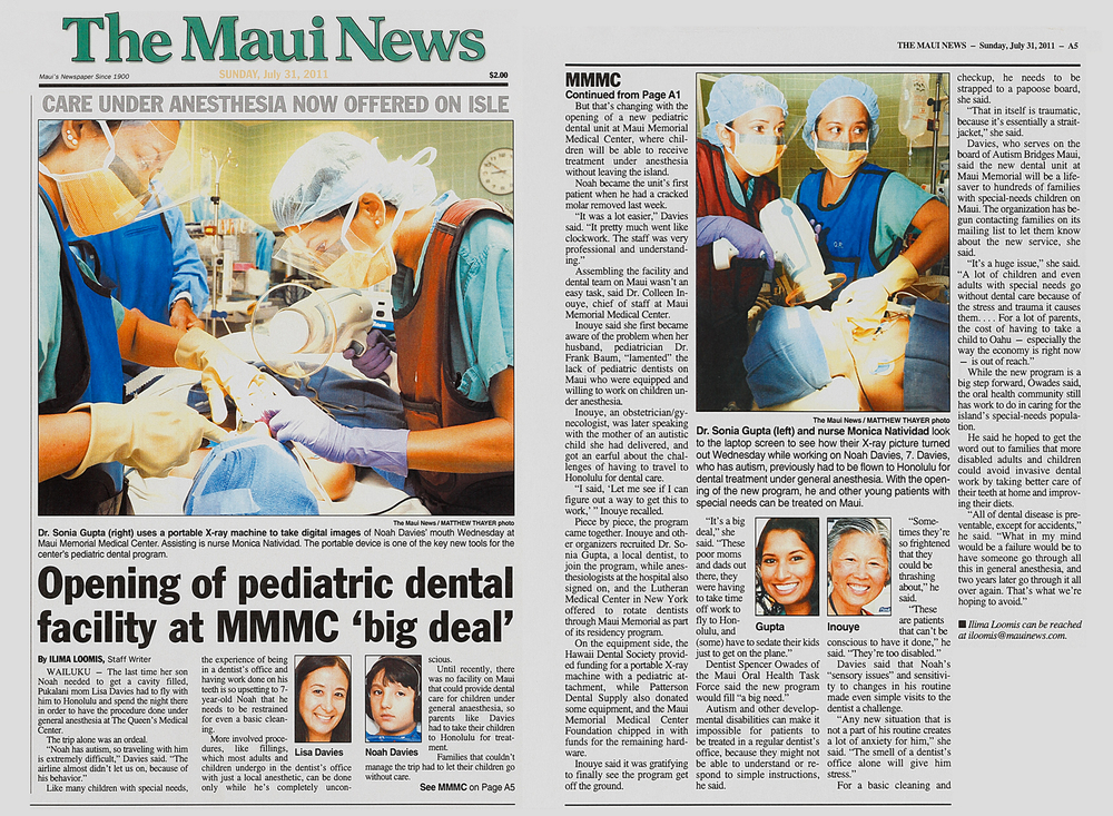 Front page of the Maui News