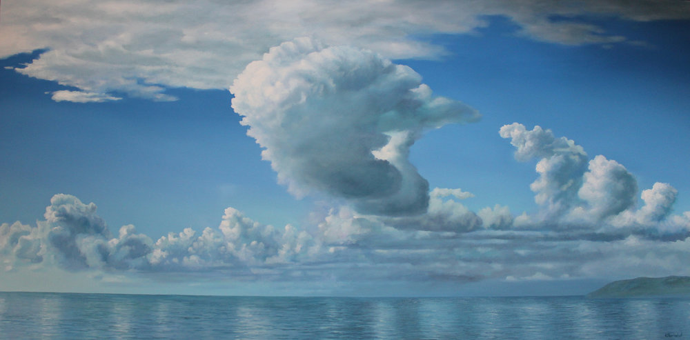 """Cloud Sailing"" 36x72 oil"
