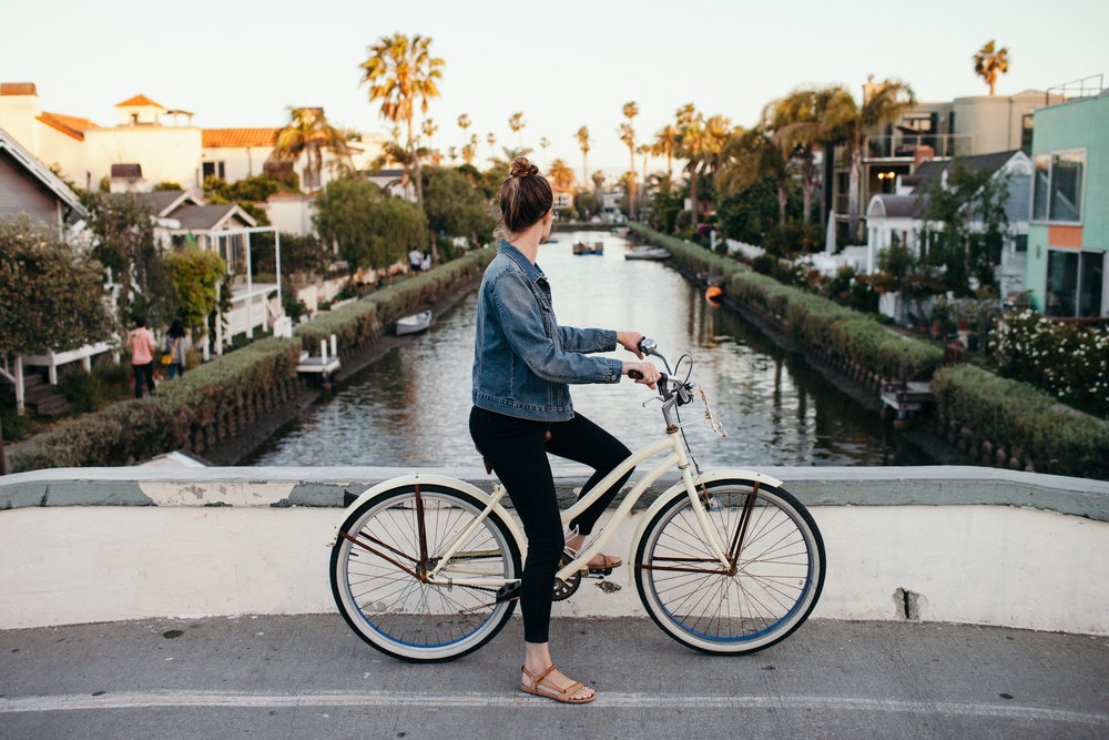 Venice Beach Canals Sunset Bicycle Ride Los Angeles California