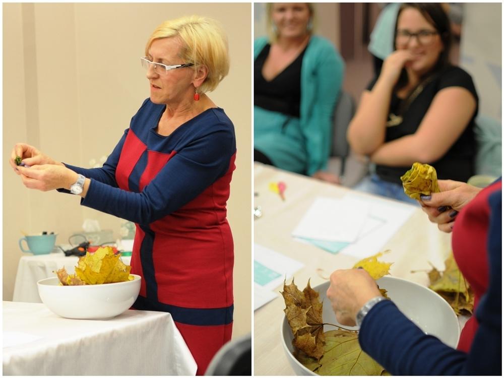 na koniec Ania zaprezentowała nam własny pomysł, czyli różyczki zrobione z jesiennych liści. taki bukiet na pewno będzie ozdobą niejednego domu.