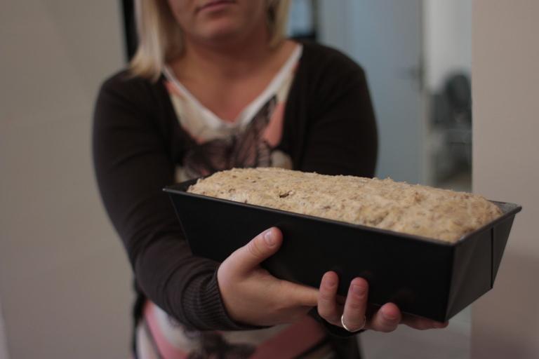 po 30min chleb był gotowy już do pieczenia, co niezmiernie ucieszyło wszystkich, bo na koniec spotkania mogłyśmy go spróbować.