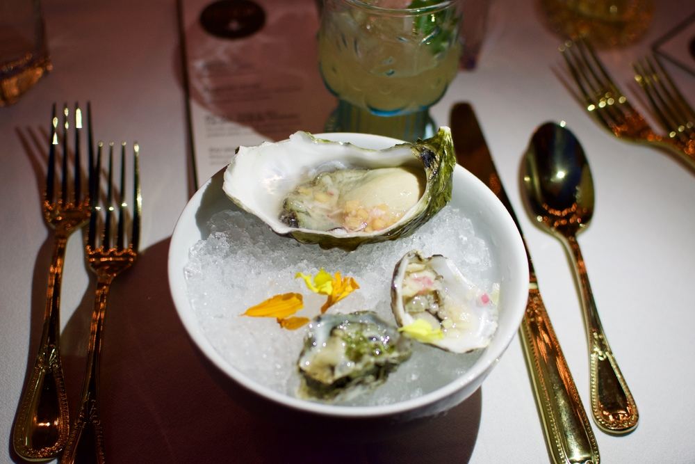 Oysters on the half-shell, bespoke mignonette